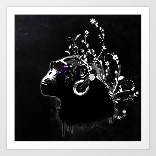 Monkey Tripping - Black Art Print