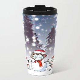 Snowman Christmas Metal Travel Mug