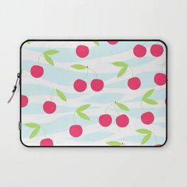 Seamless cherry pattern on striped Laptop Sleeve