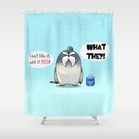 yeti Shower Curtains featuring Yeti by Mr Meowmer