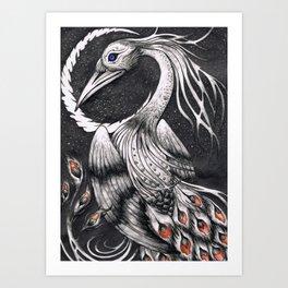 Nocturnal Black Swan-Peacock Art Print