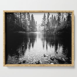 Forest Reflection Lake - Black and White  - Nature Photography Serving Tray
