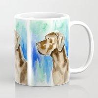 great dane Mugs featuring Great Dane Watercolor Dog by ClarityArtDesign