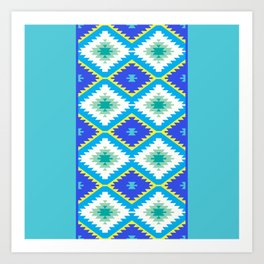 Turkish carpet yellow blue green. Patchwork mosaic oriental kilim rug Art Print
