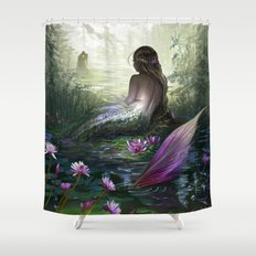 Little mermaid - Lonley siren watching couple in loving embrace kissing Shower Curtain