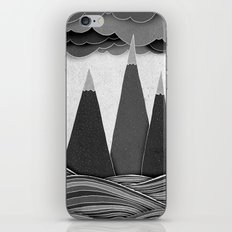 Clouds. Mountains. Water. (black and white) iPhone & iPod Skin
