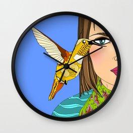 Hummingbird and Woman Illustration Wall Clock