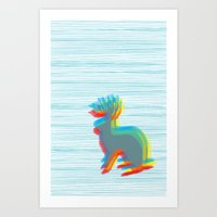 jackalope Art Prints featuring Jackalope by Glassy