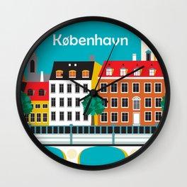 Kobenhavn, Denmark - Skyline Illustration by Loose Petals Wall Clock