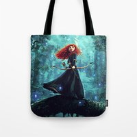 be brave Tote Bags featuring Brave by Juniper Vinetree
