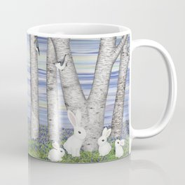 nuthatches, bunnies, and birches Coffee Mug