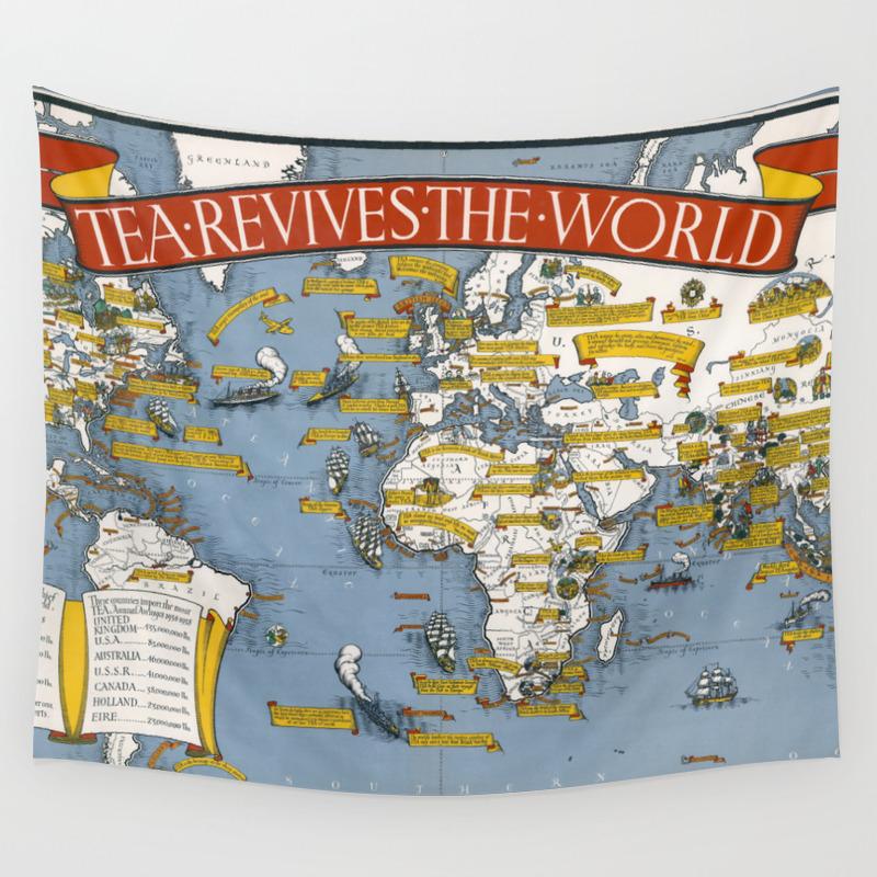 World map wall art 1940 dorm decor mappemonde tea revives the world Wall  Tapestry