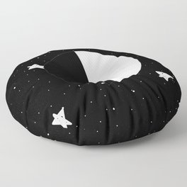 Moon Phases: First quarter Floor Pillow