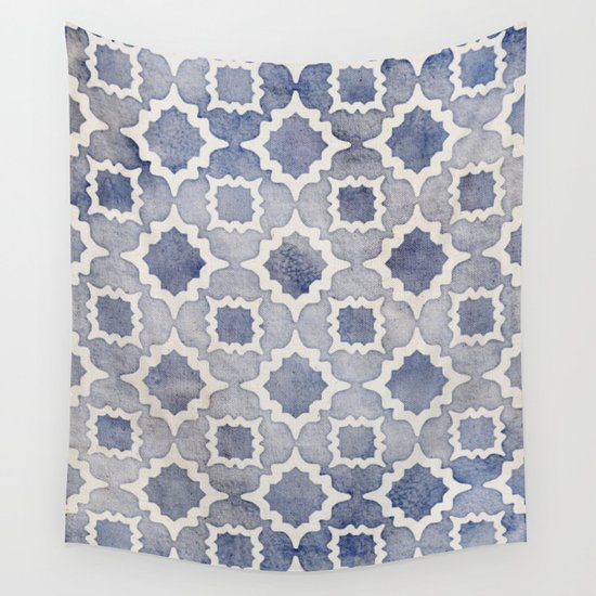 worn faded navy denim moroccan pattern in grey blue white wall tapestry by micklyn society6. Black Bedroom Furniture Sets. Home Design Ideas