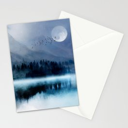 Mountainscape Under The Moonlight Stationery Cards