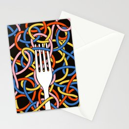 Knots - Memphis Milano Pasta Spaghetti Fork food graphic 80s 90s Kitchen Home Stationery Cards