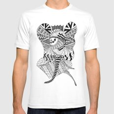 Elephant Butterfly MEDIUM White Mens Fitted Tee