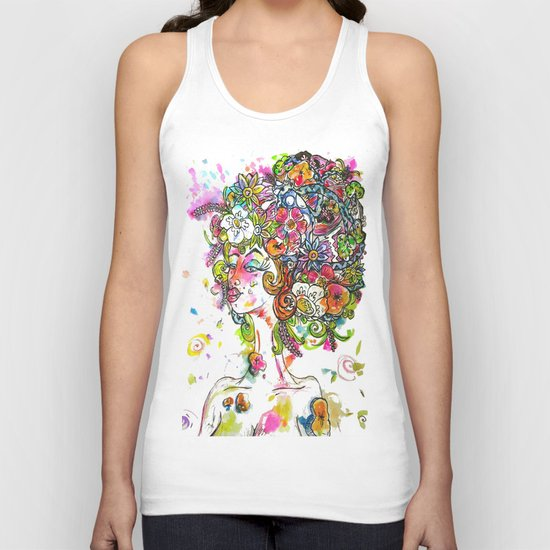 """She Wore Flowers in Her Hair"" Unisex Tank Top"