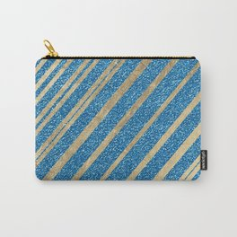 Abstract gold metallic blue glitter geometric pattern Carry-All Pouch