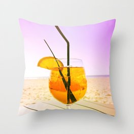 Cocktail At The Beach Throw Pillow