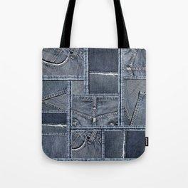 Blue Jeans Denim Patchwork Pattern Tote Bag