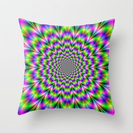 Neon Rosette in Pink Green and Blue Throw Pillow