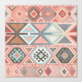Aztec Artisan Tribal in Pink Canvas Print