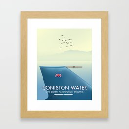 Coniston Water, lake district, England travel poster Framed Art Print