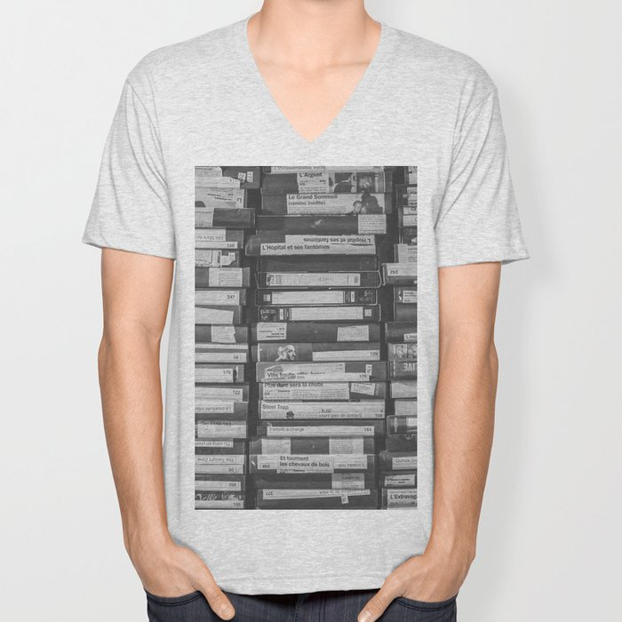 VHS Retro (Black and White) Unisex V-Neck