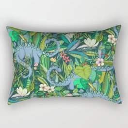 Improbable Botanical with Dinosaurs - dark green Rectangular Pillow