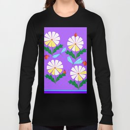 White Spring Daisies, Dragonflies, Lady Bugs lavender Long Sleeve T-shirt
