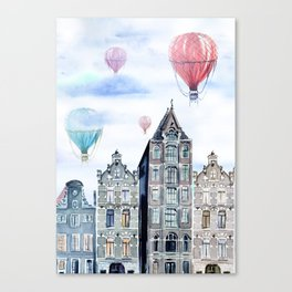Amsterdam and balloons watercolor Canvas Print