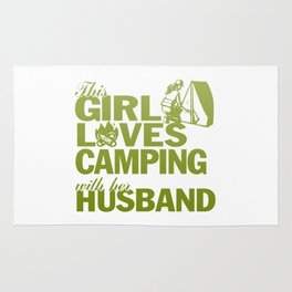 LOVES CAMPING WITH HER HUSBAND Rug