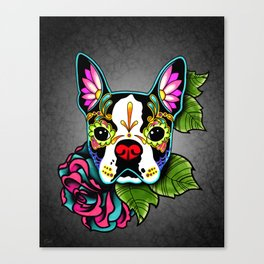 Boston Terrier in Black - Day of the Dead Sugar Skull Dog Canvas Print