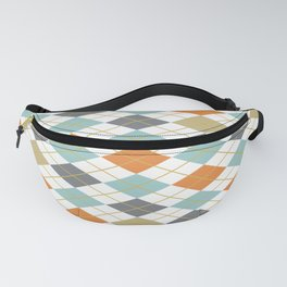 Retro 1980s Argyle and Stripes Geometric Fanny Pack
