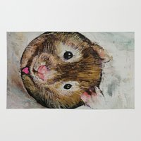 hamster Area & Throw Rugs featuring Hamster Love by Michael Creese