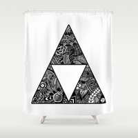 triforce Shower Curtains featuring Triforce Zentangle by Riaora Creations