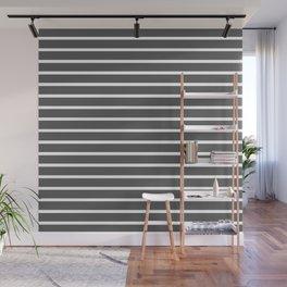Dark Grey and White Horizontal Stripes Pattern Wall Mural