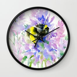 Bumblebee and Lavender Flowers, nature bee honey making decor Wall Clock