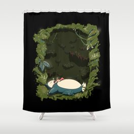 Sleeping with Snorlax Shower Curtain