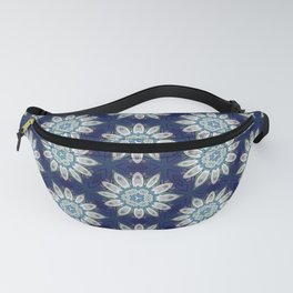 Daisies over Blue Geometric Pattern Design Fanny Pack