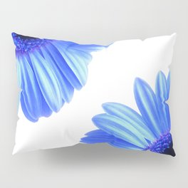 Blue Gerbera Flowers Pillow Sham