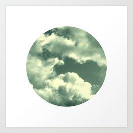 Cloudy sky photograph, dreamy white green, spring decor Art Print