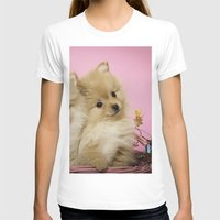 pomeranian T-shirts featuring Pink Pomeranian Brothers by We Speak Puppy