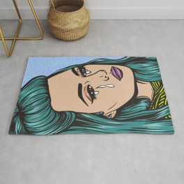 Teal Crying Comic Girl Rug