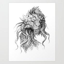 Dark Side Japanese Dragon portrait | Graphite Pencil art Art Print