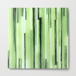 Green Black Purple Stripes Metal Print