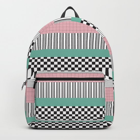 Pink and Teal Striped Pattern by artprintsbycourtney