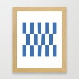 Modern royal blue and white trendy checker pattern Framed Art Print