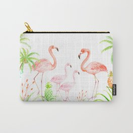Watercolor flamingo family art print Carry-All Pouch